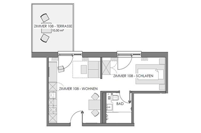 Boardinghouse - Ingolstadt Apartments - Grundriss Deluxe